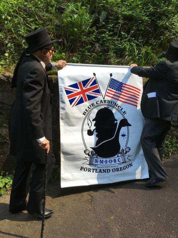 Displaying our banner at Multnomah Falls